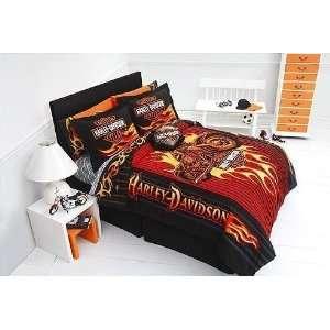 and Sheet Set (5 Piece Bedding) Harley Davidson Flame Rider Fireball
