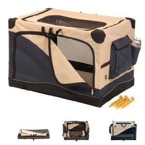 Precision Soft Side Pet Crate 36 x 24 x 23 Navy/Tan