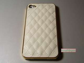Luxury Plating Soft Leather Hard Case for iPhone 4 4G White Gold