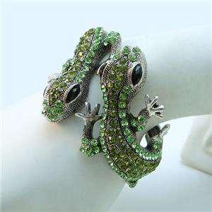 VTG Style Gecko Bracelet Cuff Green Swarovski Crystal