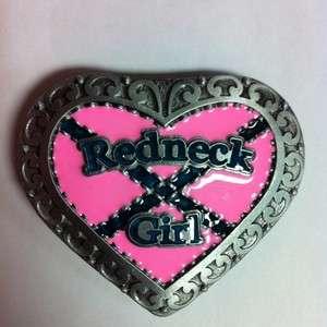 Pink Heart Redneck Girl Belt buckle Western Rebel CSA Cowgirl