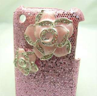 PG14 Bling Shiny Pink Flowers Pink Case Cover for iPhone 3 3G