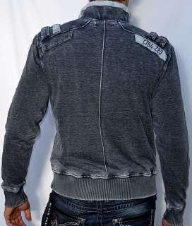 Affliction Black Premium NO EXCUSES Mens Fleece Jacket   10OW411