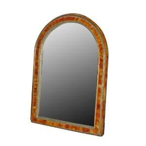 Extra Large Brass Mirror with Bone Inlay