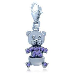 Nagara Cute CZ 925 Sterling Silver Teddy Bear Dangle Charm