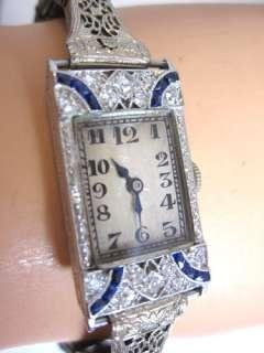 ANTIQUE LADIES ART DECO PLATINUM DIAMOND SAPPHIRE WATCH +EXTRA BANDS