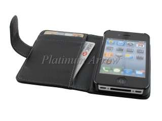 Book Type Leather Case Wallet Pouch for Apple iPhone 4 4S Black