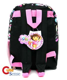 Dora w/Boots School Medium 14 Backpack BagBlack Pink