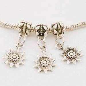 TIBETAN SILVER dangle sun CHARM FOR EUROPEAN BRACELETS