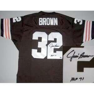 Jim Brown Autographed Jersey   MN HOF71