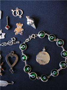 HUGE VINTAGE LOT OF STERLING SILVER CHARMS, PENDANTS, BRACELETS & MORE