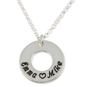 Sterling Silver Couples Name Round Pendant Jewelry