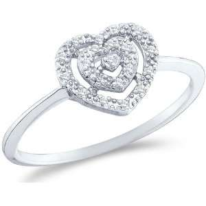 Size   4   10k White Gold Heart Love Shape Center Pave Setting Round