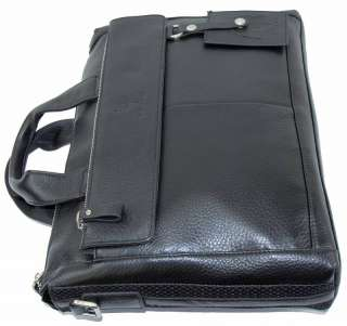 Cowhide Italy Leather Bag Briefcase Messenger Laptop Case Black A2