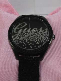 GUESS U96002L1 Ladys Black Dial Textured Black Leather Strap Watch