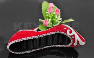 Shoe Ring Earring Jewelry Display Holder Stand Rack Red
