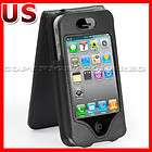 for apple iphone 4 black leather flip hard case pouch d  $ 3