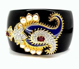Kenneth Jay Lane Black Resin & Crystal Paisley Design Bracelet