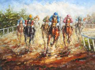 Horse Race, 36x48 HIGH QUALITY OIL PAINTING      4 FEET
