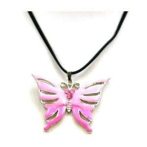 Pink Enamel Butterfly Pendant on Black 17 Velvet Cord