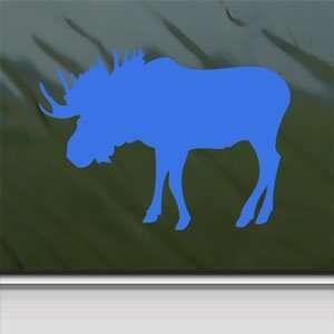 Bull Moose Hunting Blue Decal Car Truck Window Blue