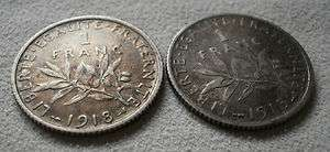 LOT 2 France French one franc coin 1918 & 1915
