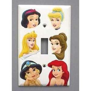 Plate switchplate #1 Cinderella Belle Aurora Jasmine Ariel Snow White