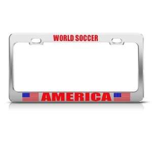 American God Bless America Sport Soccer license plate frame Stainless