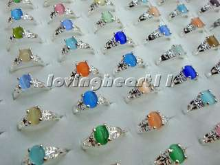 FREE wholesale jewelry 20pcs Multicolored cat eye stone silver P