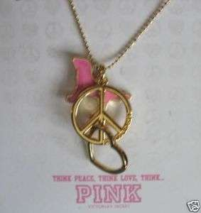 NEW VICTORIAS SECRET PINK LOVE PEACE DOGCHARM NECKLACE