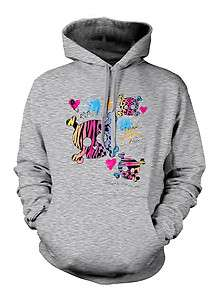 Skulls Hearts Sweatshirt Hoodie Funky Trendy Neon Colors Tattoo