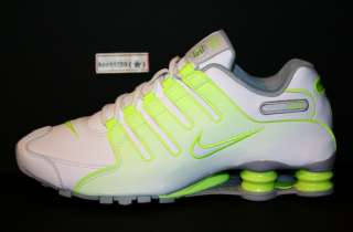 AUTHENTIC NIKE Shox NZ White Wolf Grey Neon Turbo Green r4 Volt Men sz