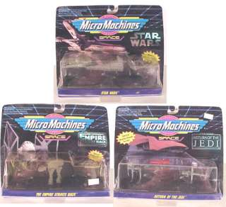 Set of 3 Star Wars Micro Machine Playset Galoob CARDED