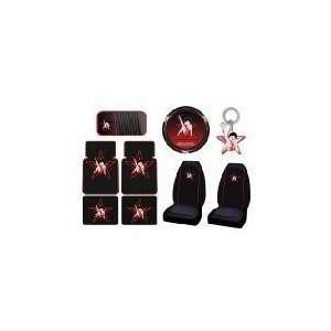 9PCS Set Car Floor Mats Steering Wheel Cover Key CD Visor seat covers