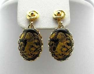 Zodiac LEO Necklace Earrings Set Black Gold Lion BOOK