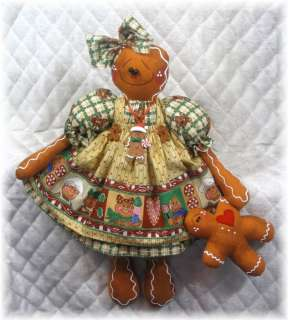 Primitive Raggedy Christmas Gingerbread Doll w/Baby Ornie~Adorable