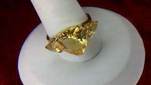 Gorgeous 10k Solid Gold & Citrine Ring size 7 3/4   8 not scrap lot
