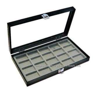 Glass Top 20 Zippo Lighter Grey Collectors Display Case