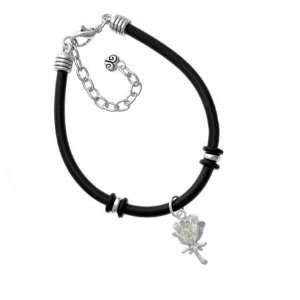 Antiqued Silver Rose Charm Silver Plated Black Rubber Charm Bracelet
