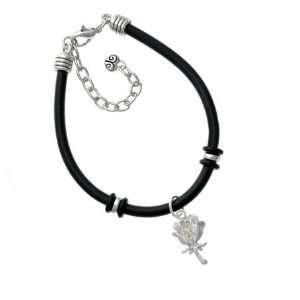 Antiqued Silver Rose Charm Silver Plated Black Rubber Charm Bracelet