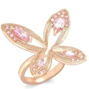Size 5 Butterfly Rose Cubic Zirconia Brass Rose Gold