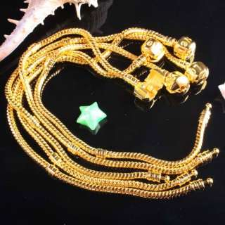 5X Gold Plated Snake Chain Charm Bracelet Love Clasp