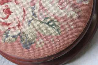 ANTIQUE VICTORIAN PETITE ROUND FOOTSTOOL WITH FLORAL NEEDLEPOINT TOP