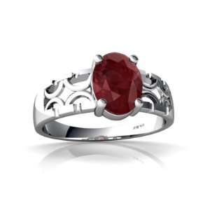 14K White Gold Oval Genuine Ruby Ring Size 4 Jewelry