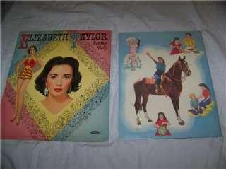 Vintage Liz Taylor Paper Doll Books National Velvet & Elizabeth Taylor