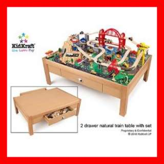 KidKraft 100 Piece City Set & Train Set Table Solid Wood Frame w