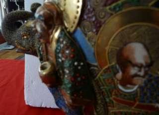 Huge Antique Satsuma Style Vase Raised Figures and Elephant Head