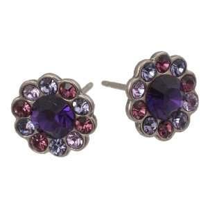 Michal Negrin Silver Coating Flower Earrings with Purple