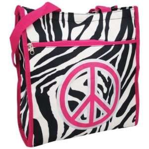 Zebra Hot Pink Tote Book Bag Peace Symbol