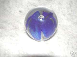 Handcrafted Art Glass Blue Flower Design Paperweight
